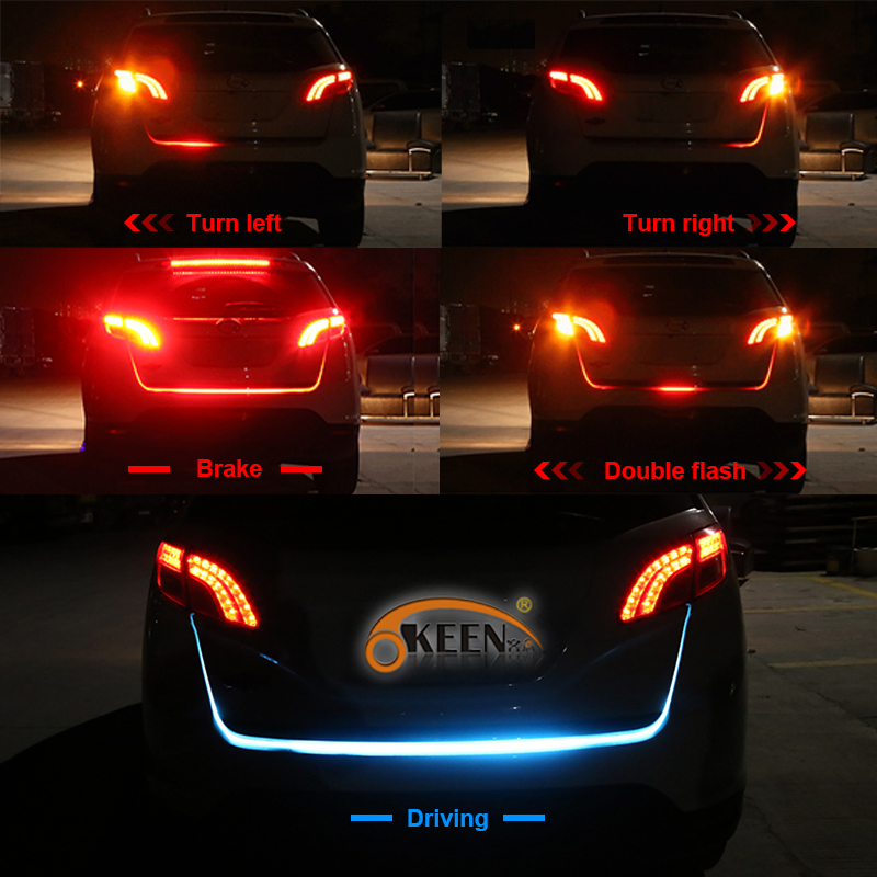 OKEEN car led trunk light strip 120cm 5 functions Rear Trunk Tail led following moving flashlight turn signal Stop signal back