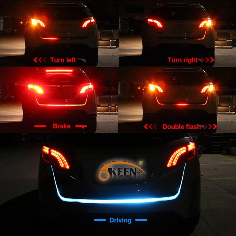Okeen автомобиль вел ствол свет ленты 120 см 5 функций задний багажник хвост LED следующие перемещения фонарик сигнал поворота Стоп-сигнал сзади