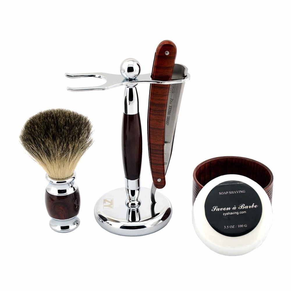 ZY 5pcs/Set Shaving Razor Straight Razor Set Man Folding Knife+Badger Shaving Brush+Stand+Shave Soap Wood Bowl Mug 5pcs colorful cheese knife set