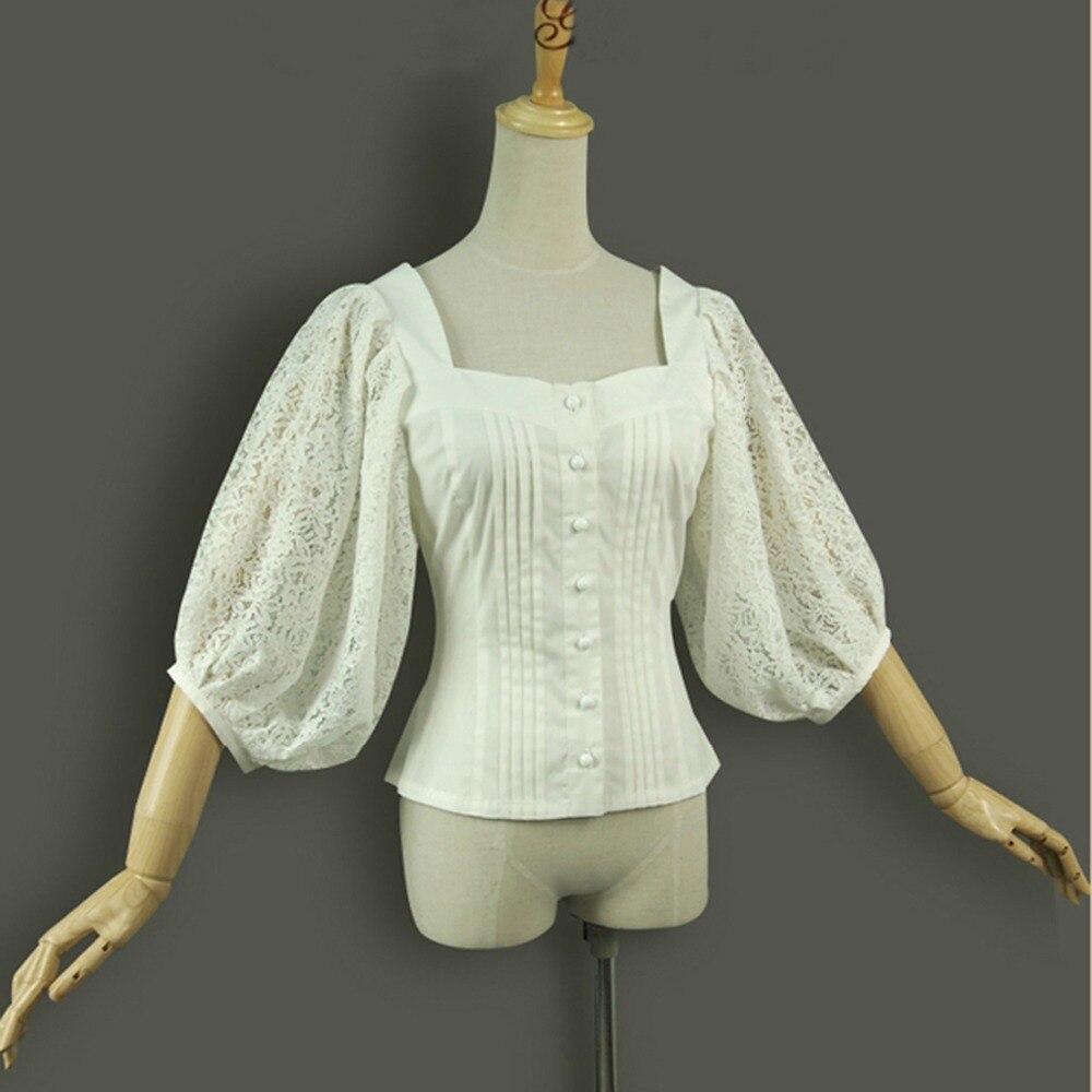 17f047014 Primavera Verano mujeres camisas linterna manga vintage gótico lolita  disfraz Oficina tops señoras bordado algodón Delgado blanco blusa