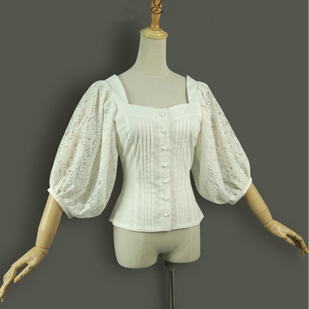Spring summer women shirts lantern sleeve vintage gothic lolita costume office tops Ladies embroidery Cotton Slim