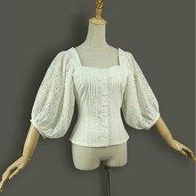 Spring summer women shirts lantern sleeve vintage gothic lolita costume office tops Ladies embroidery Cotton Slim white blouse