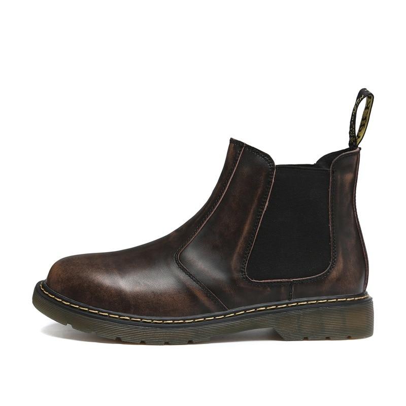Ботильоны «Челси» в стиле ретро; мужские замшевые эластичные коричневые и черные брендовые ботинки Kanye; зимние осенние мужские ботинки; botas hombre; качественная обувь - Цвет: brown