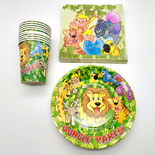 60PCS/LOT Birthday Party Kids Favors Plates Jungle Animal Cartoon Theme Decorate Cups Paper Napkins Baby Shower Events Supplies
