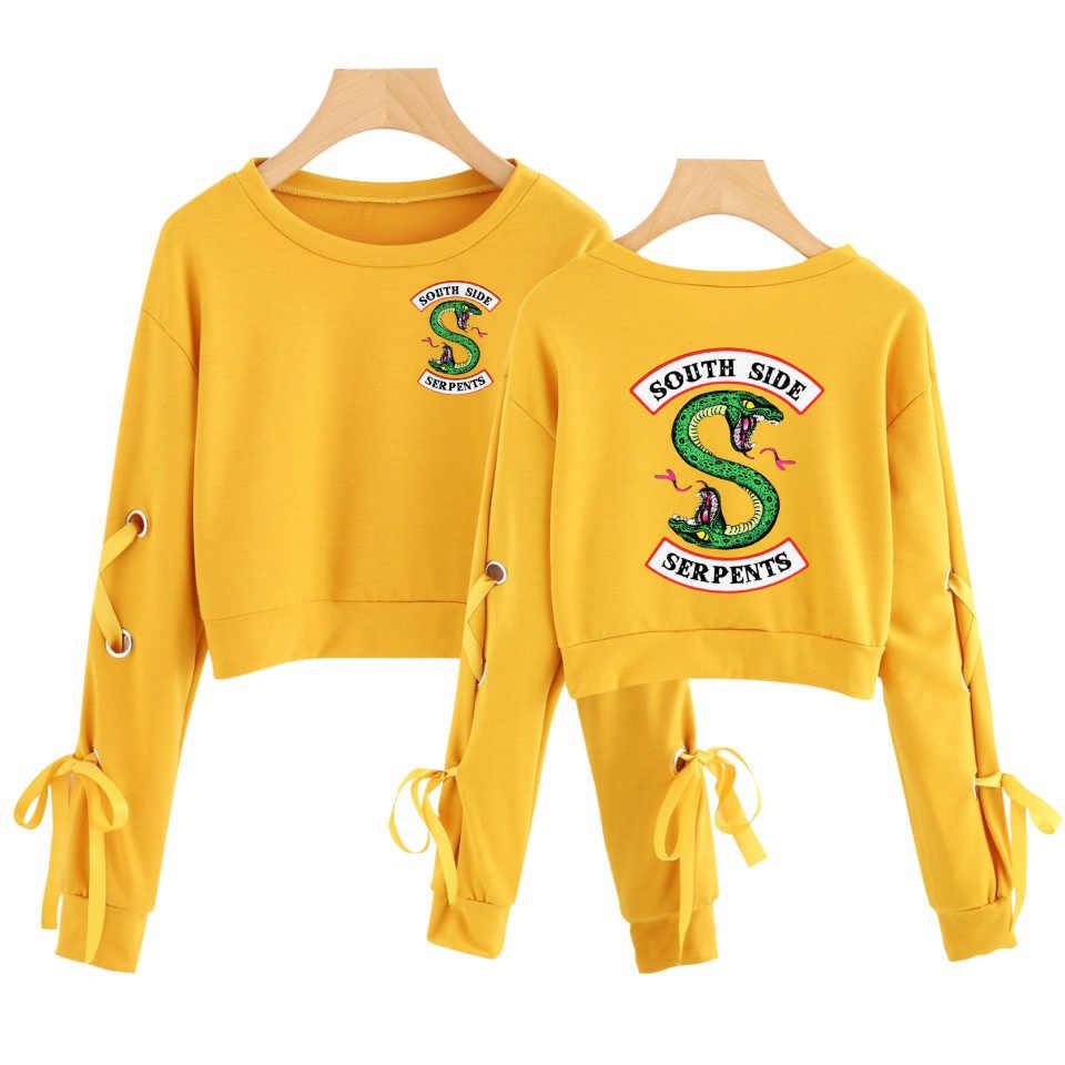 2019 New Riverdale Crop Top Hoodie Sweatshirts Pullovers Women South Side Serpent Sleeve Sexy Openwork Bow-Knot Capless Hoodies