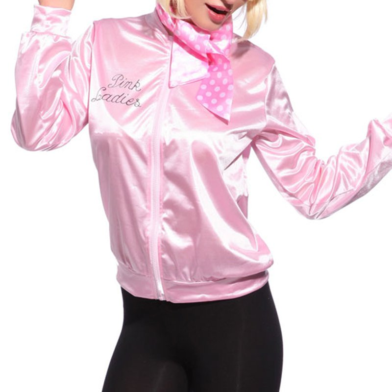 EFINNY Women   Basic   Coats Solid Tracksuit for Women   Jacket   Ladies Retro   Jacket   Women Fancy Dress Grease Costume Pink
