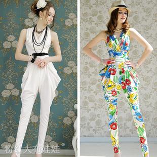 4ea7d3a52b02ac Fashion spring elegant romper vintage lady high waisted harem pants white flower  floral print women trousers