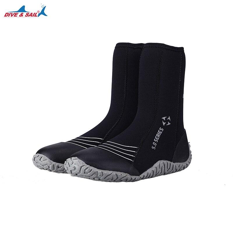 Plongée & voile Gaobang chaussures de plongée 5mm néoprène chaud vulcanisation plongée froid anti-dérapant chaussures natation cheville équipement expédition