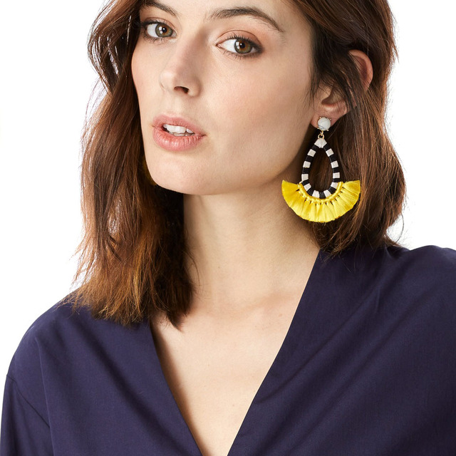 JUJIA good quality cotton tassel earrings fashion women statement dangle drops Earrings for women Fringing earrings jewelry
