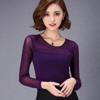 Blusa Woman Blouse Shirts 2016 New Tops Female Lace Sexy Slim Long Sleeve Shirt Women Basic