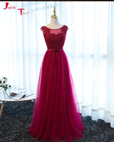 Jark Tozr Vestido De Noche Custom Made Beading Pearls Burgundy Fomal Evening Gown Party Dresses Long