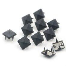 100pcs 8mm Black Color Personas Square Pyramid Rivets Spike Nailhead DIY Punk 4 Claws