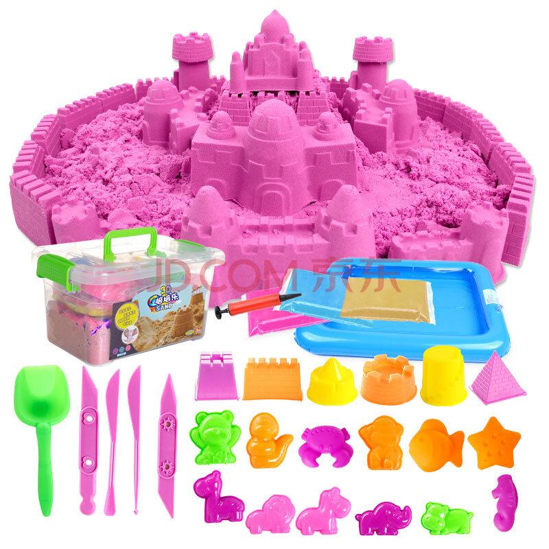 Sable magique incroyable espace jouer sable amusant petits jouets sculpte château Architecture ensemble 42 pièces moules trousse à outils, un Art sensoriel cinétique - 5