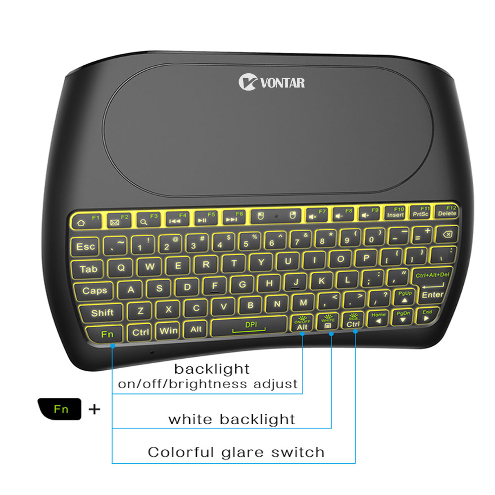 VONTAR Backlight D8 Pro Plus i8 English Russian 2 4GHz Wireless Mini Keyboard Air Mouse Touchpad
