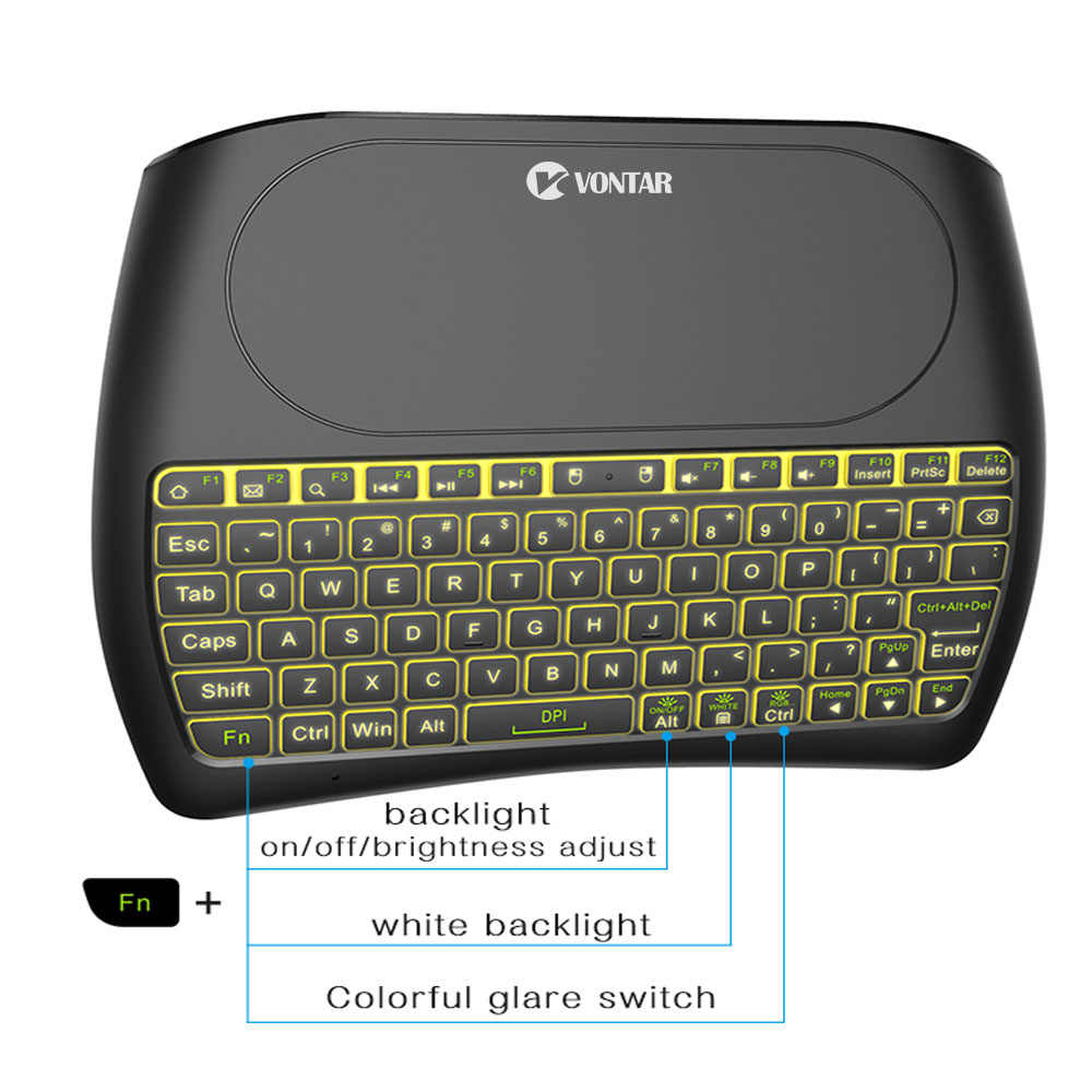 VONTAR подсветка D8 Pro Plus i8 Английский Русский 2,4 ГГц Беспроводная мини клавиатура Air mouse Сенсорная панель контроллер для Android tv BOX
