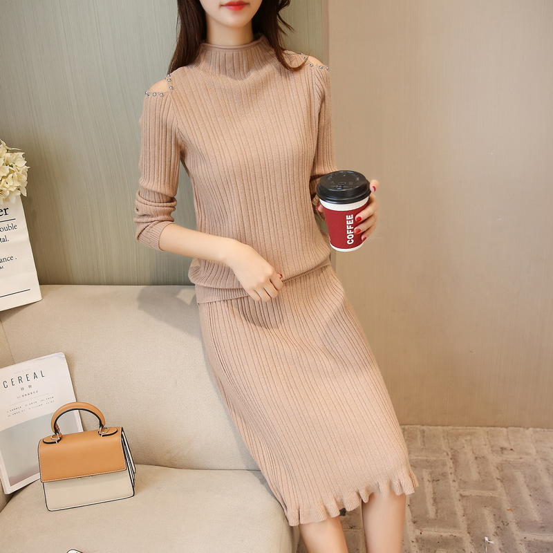Femmes pull jupe 2 pièces ensemble de vêtements perles décor épaule pull chandails tricots jupes dame tenue solide design automne