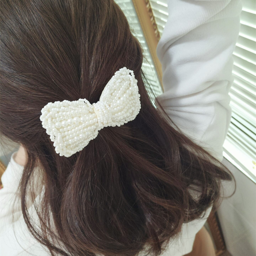 Pearl Bow Hair Clip for Women Hair Accessories Adult Fashion Duckbill Clip   Headwear   Korean Hairgrips Girl Barrettes