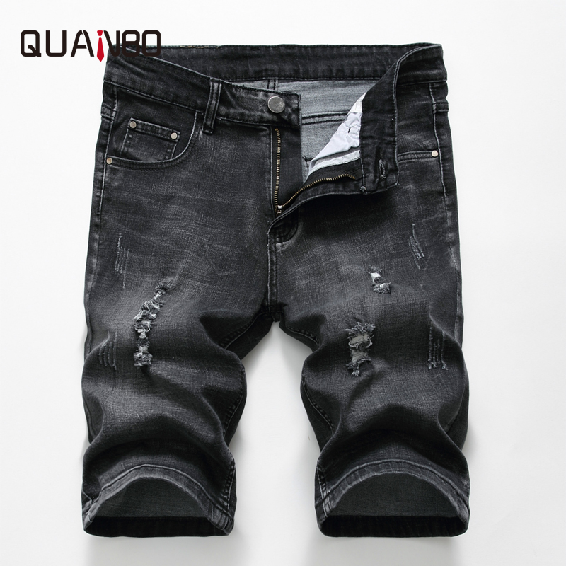 QUANBO 2019 New Arrival Summer Men Hole Ripped Denim Shorts Fashion Slim Cotton Casual Short Hole   Jeans   Shorts Brand Clothing