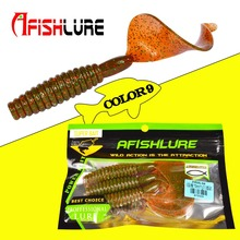 3pcs/lot Curly Tail Soft Lure 12g 105mm Big Twisted Tail Soft Grubs Fatty Boy Artificial  fishing lure Jigging Head Texas Rig