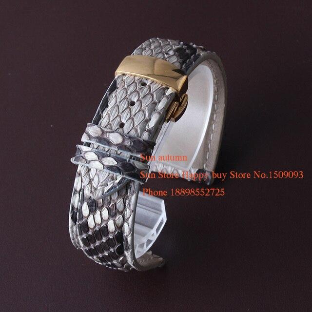 Serpiente de cuero Venda de Reloj de la Correa de ajuste vestido de la manera relojes Famale/Hombre Reloj de Cuarzo Banda de Cuero Genuino 19mm 20mm Hebilla de Oro