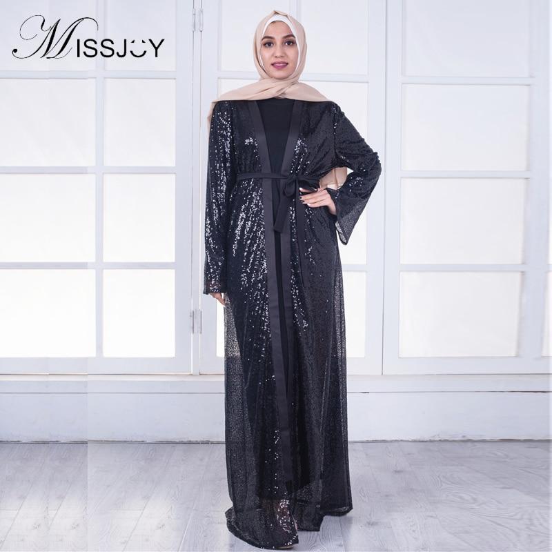 MISSJOY Sequin Dress abaya Dubai Islamic Muslim Party 2018 arabic Women Black Fashion Open Front Kimono Long Maxi Cardigan Dress