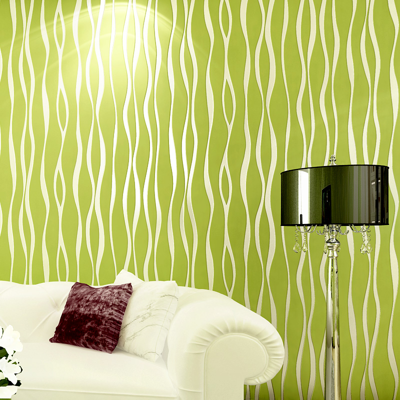 Paysota modern plain coloured vertical stripe wavy for Wallpaper home green