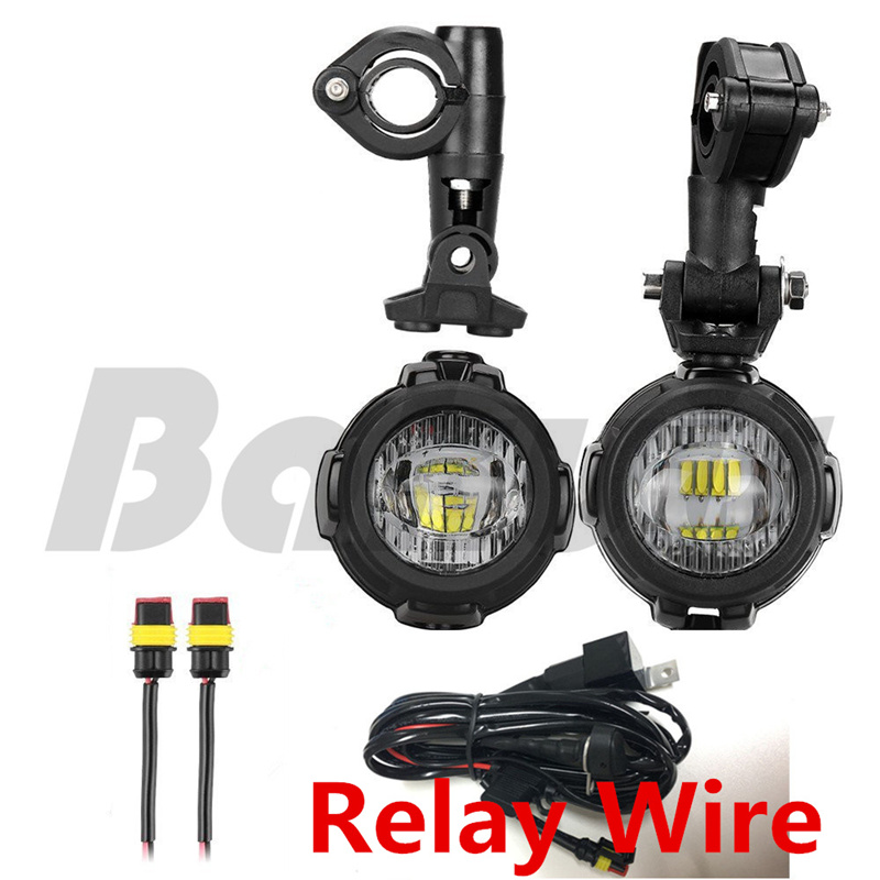 Motorcycle LED Fog Light Safety Driving Lamp Bike Auxiliary Fog Accessories Guards & Wiring Harness for BMW F800R 1200GS Bracket