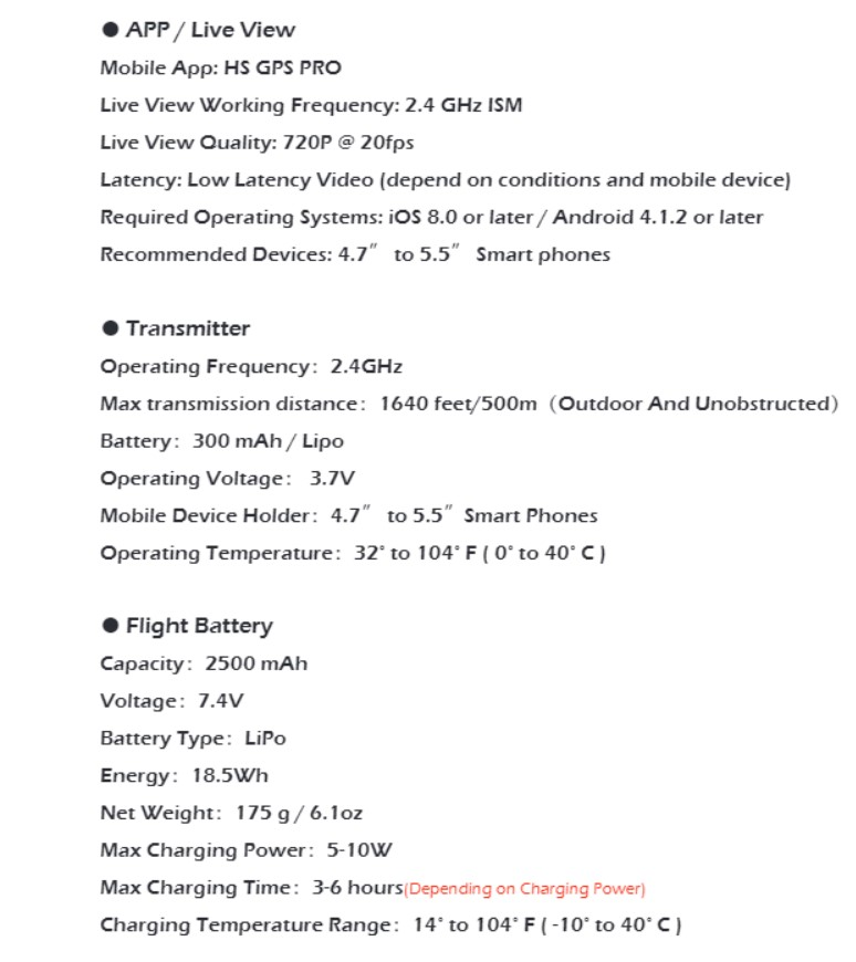 HS100 Drone Specification 2