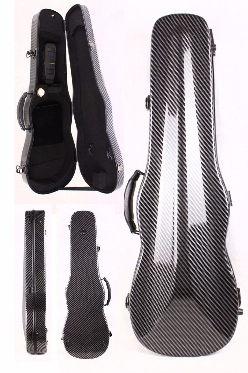 black color violin case 4/4 carbon fiber Composite materials High streng high quality violin 4 4 full size composite carbon fiber case bow holders straps