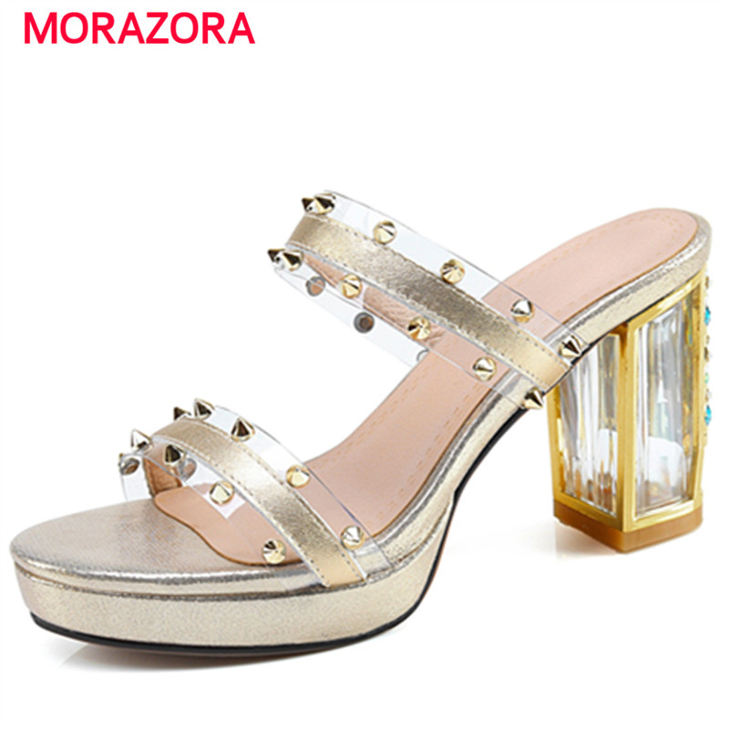 MORAZORA Rivets genuine leather shoes woman summer platform shoes high heels sandals women fashion party big size 34-40