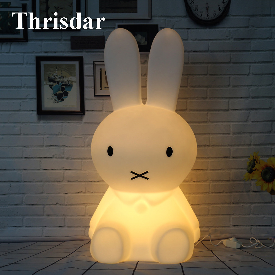 Thrisdar Bear Pig Rabbit Led Night Light Dimmable Cartoon Bedroom Desk Table Lamps for Children Kids Baby Best Christmas Gift beiaidi 50cm cute rabbit led night light cartoon animal bedroom desk table lamp baby kids children sleeping light best christmas