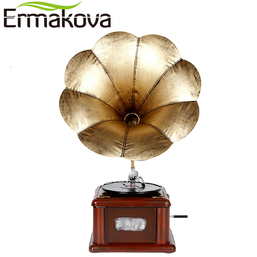 ERMAKOVA Metal Retro Phonograph Model Vintage Record Player Prop Antique Gramophone Model Home Office Club Bar Decor Ornaments|ornamental decoration|ornament office|ornaments home - title=