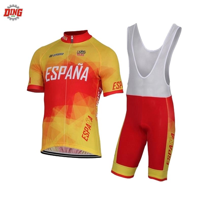 2fa1bfb8e Spain NEW pro team wear cycling jersey set men short sleeve bib shorts Gel  Pad yellow