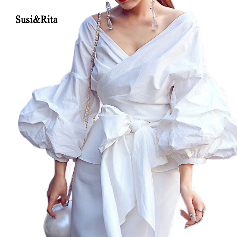 Susi&Rita 2017 Ruffle Blouse White V Neck Bubble Sleeve Wrap ...