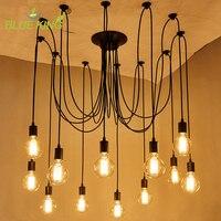 Nordic Retro Edison Chandelier Lighting Vintage Loft Antique Adjustable DIY E27 Spider Pendant Hanging Lamp DIY