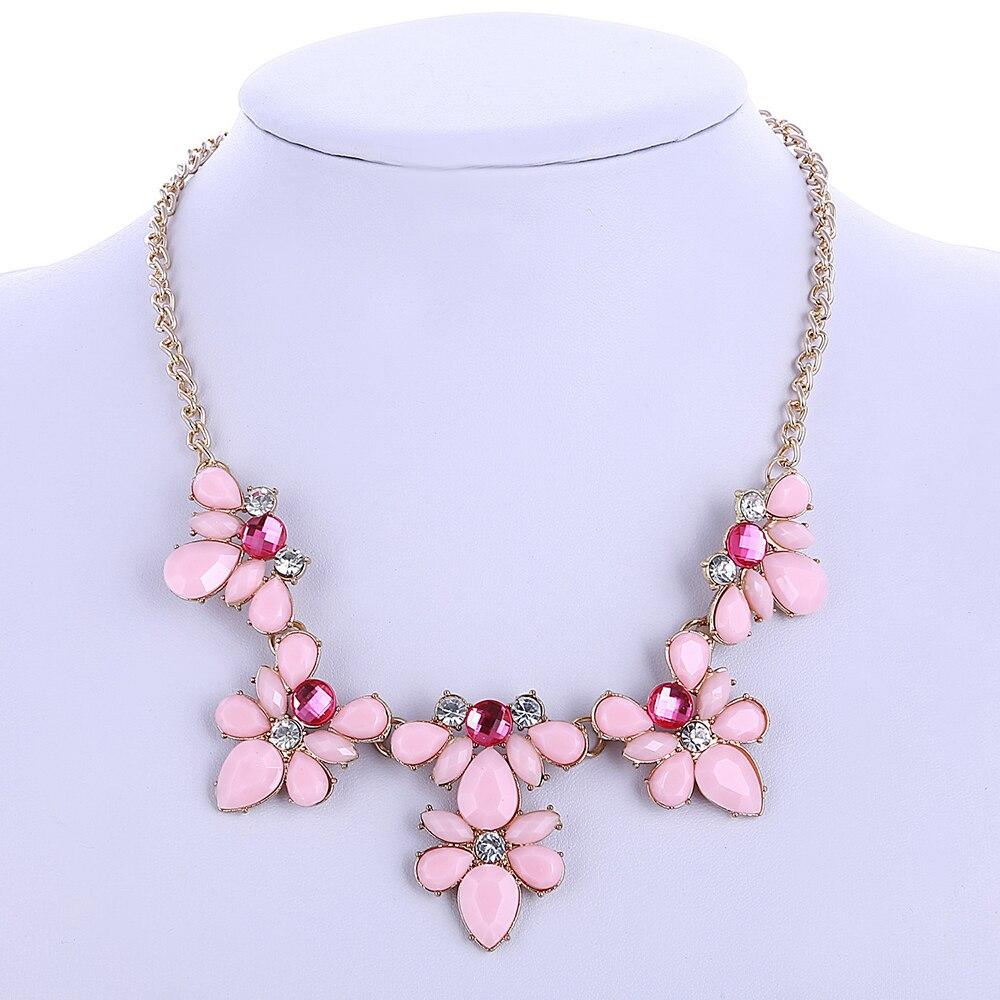 Женское Ожерелье-чокер с кристаллами, розовое, синее, зеленое массивное ожерелье с цветком, роскошные ожерелья-чокеры, Подарочная бижутерия