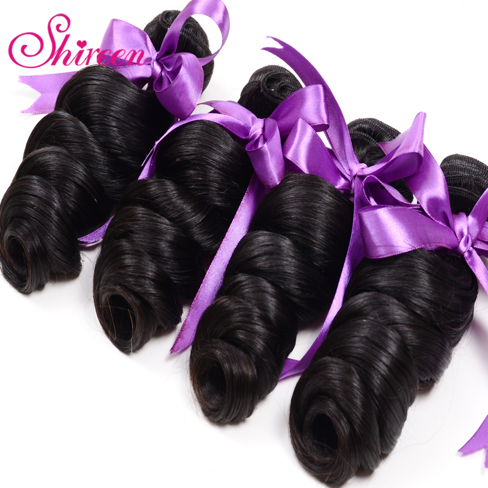 Shireen Loose Wave Bundles 100% Human Hair Extension Brazillian Hair Weave Tissage Cheveux Humain Natural Black Can Be Colored
