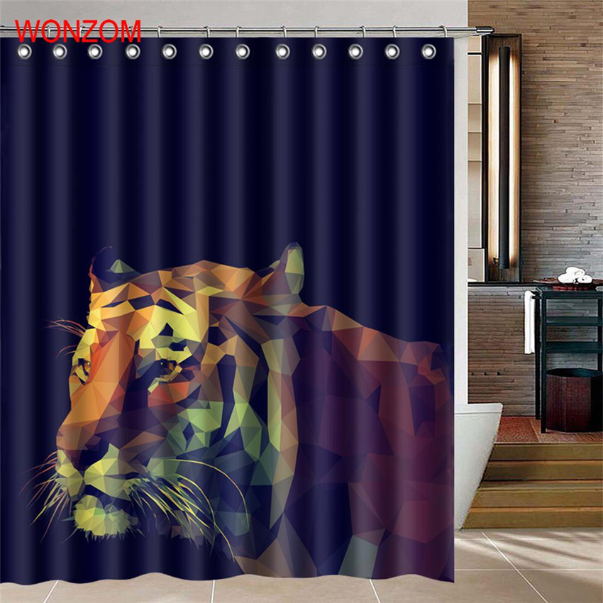 WONZOM Wolf Waterproof Shower Curtain 3D Animal Bathroom Decor Tiger Decoration Cortina De Bano 2018 Polyester Bath Curtain Gift in Shower Curtains from Home Garden
