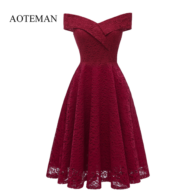 AOTEMAN Summer Autumn Women Dress Sexy Slim Elegant Hollow Out Solid Lace Pink Party Dresses Female Vintage A-Line Dress Vestido