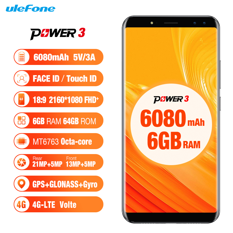 Ulefone Power 3 Android 8.1 Smartphone MTK6763 Octa Core 6.0''FHD 6GB RAM 64GB ROM 6080mAh 4G LTE 4 Cameras Face ID Mobile Phone