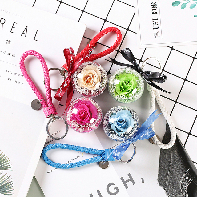 eternal flower hanging dried flowers pendant for christmas fresh roses diy decorations for car/bag birthday valentine's day gift