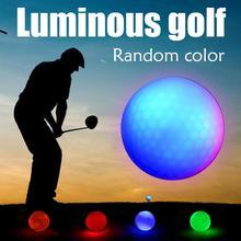 مطاط صناعي لعبة غولف LED كرة مضيئة في كثير من الأحيان كرة مشرقة مناسبة للاستخدام الليلي متعدد الألوان اختياري بالجملة