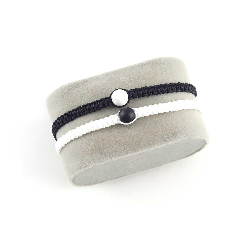 2 unids/set Yin Yang mujer pulsera hecha a mano cuentas de piedra Natural macramé mejor amigo pareja pulseras brazaletes para Mujeres Hombres joyería