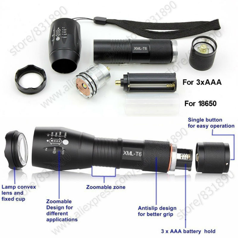 Hot 5 Modes LED Flashlight&Torches XM-L T6 L2 Q5 3800LM Aluminum Waterproof Zoomable light for 18650 Rechargeable or AAA Battery