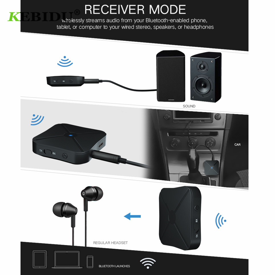 Image 5 - Kebidu 2 IN 1 Bluetooth 4.2 Receiver and Transmitter Bluetooth Wireless Adapter Audio With 3.5MM AUX Audio For Home TV MP3 PC-in Wireless Adapter from Consumer Electronics
