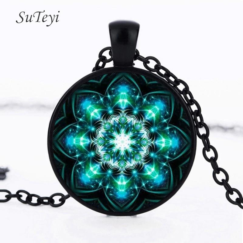 MANDALA Pendant Necklace Cabochon Glass Black plated Chain