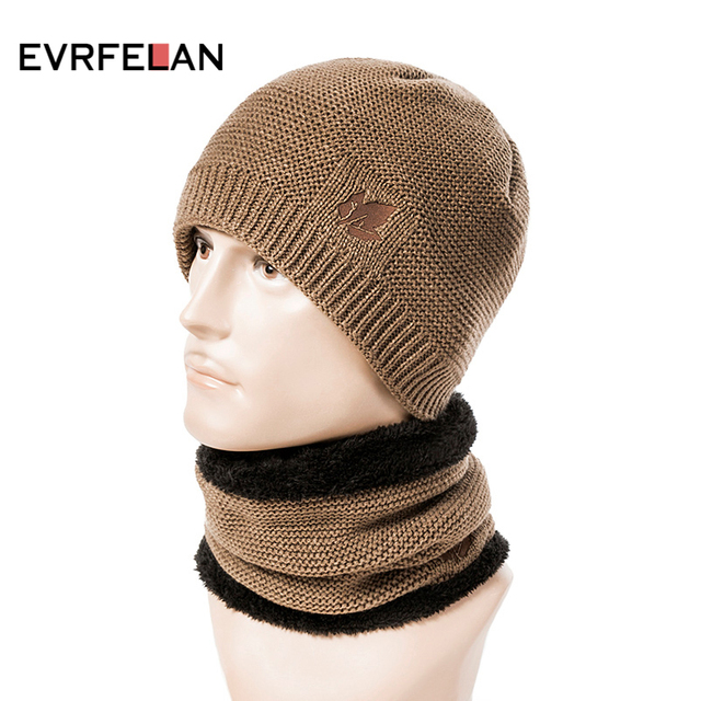 b181636a0eac5 Evrfelan New Set Winter Hat and Scarf For Women Men 2 Piece Beanies Hat  Ring Scarves Male Winter Knitted Hats Cap Set