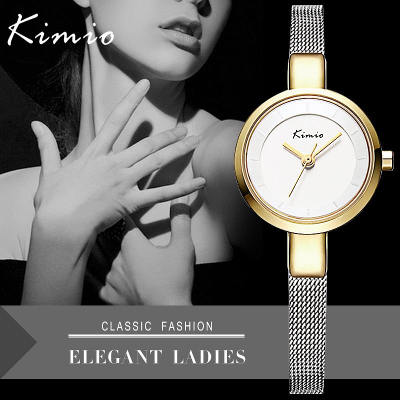 KIMIO Hot Elegant Mesh Bracelet Band Ladies Wristwatches Simple Design Women Quartz Watch Gold Relogio Feminino With Gift Box