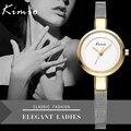 Kimio hot elegante pulseira de malha banda relógios de pulso das senhoras simples projeto mulheres relógio de quartzo relogio feminino relógio de ouro com caixa de presente