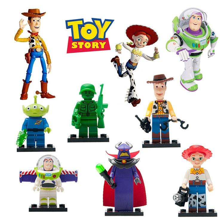 8pcs/lot Toys Story Movies Buzz Lightyear Woody Building Blocks Toys